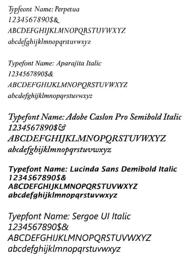 Italic Typestyles